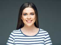 Smiling woman close up face portrait. stock images