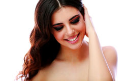 Smiling woman with closed eyes Stock Photo