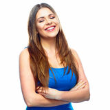 Smiling woman closed eyes portrait. White background Royalty Free Stock Image