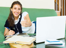 Smiling woman college student study Stock Images