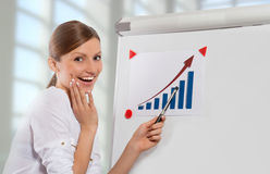 Smiling woman and color chart, office background Royalty Free Stock Photography