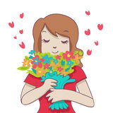 Smiling woman with colorful bouquet Stock Images