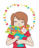 Smiling woman with colorful bouquet and aura Stock Images