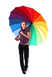 Smiling woman with colorful umbrella stock photo