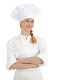 Smiling woman cook with crossed arms Royalty Free Stock Images