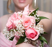 Smiling woman with corsage Royalty Free Stock Image