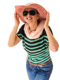 Smiling woman cowboy style hat Stock Images