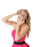 Smiling woman with creative makeup Royalty Free Stock Photo