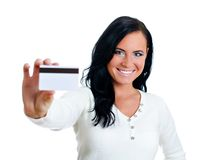 Smiling woman with credit card. Royalty Free Stock Photography