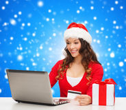 Smiling woman with credit card and laptop Royalty Free Stock Image