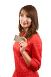Smiling woman with credit card Royalty Free Stock Photo