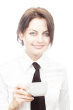 Smiling woman with cup of coffee Royalty Free Stock Photos