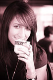 Smiling woman with a cup of coffee Royalty Free Stock Photography