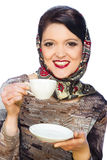Smiling woman with cup of coffee or tea Stock Photos