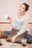 Smiling Woman with cup of coffee Royalty Free Stock Photo