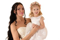 Smiling woman with a daughter Royalty Free Stock Photography