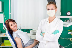Smiling woman at dentist Royalty Free Stock Images