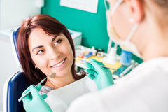 Smiling woman at dentist Stock Images