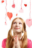 Smiling woman with designer red and pink paper valentine hearts Royalty Free Stock Photography
