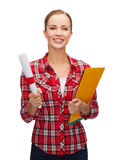 Smiling woman with diploma and folders Stock Photo