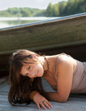 Smiling Woman On Dock By Boat Stock Photos