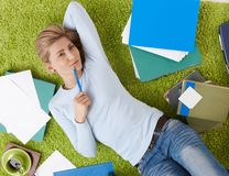 Smiling woman with documents Stock Photos