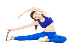Smiling  woman doing core workout, warm up  body Stock Photo