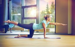 Smiling woman doing exercise in gym. Fitness, sport, training, yoga and people concept - smiling woman doing exercise in gym Royalty Free Stock Image
