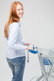 Smiling Woman Doing Grocery Shopping Stock Photography
