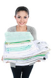 Woman with clean laundry after wash Stock Images