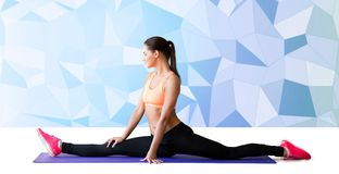 Smiling woman doing splits on mat over low poly Stock Photos