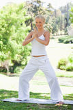 Smiling woman doing yoga exercises Stock Image