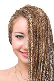 Smiling woman with  dreadlocks Royalty Free Stock Images