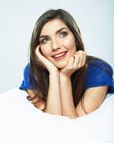 Smiling woman dreaming pose. Royalty Free Stock Photos