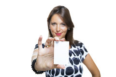 Smiling Woman in Dress Holding her Name Tag Stock Photography
