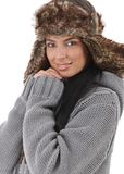 Smiling woman dressed for winter fun Stock Photo