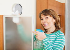 Smiling woman dusting glass Stock Photography