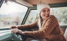 Beautiful woman enjoying her road trip Stock Photo