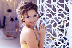 Smiling woman evening dress and with beautiful Stock Image