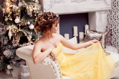 Smiling woman in evening dress  over christmas Stock Images