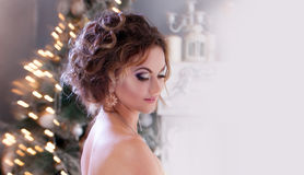 Smiling woman in evening dress  over christmas Stock Image