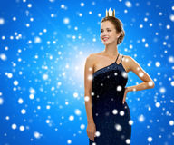 Smiling woman in evening dress wearing crown Royalty Free Stock Photo