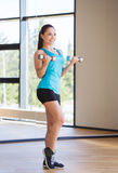 Smiling woman exercising with dumbbells in gym Royalty Free Stock Photo