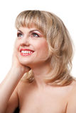 Smiling woman face. On white background royalty free stock photo