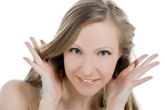 Smiling woman face with hand her hear Royalty Free Stock Photography