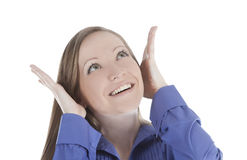 Smiling woman face with hand her hear Royalty Free Stock Image