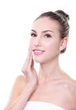 Smiling woman face with health skin and teeth Royalty Free Stock Images