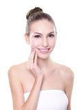 Smiling woman face with health skin and teeth Stock Photos