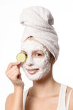 Smiling woman in a face mask Royalty Free Stock Photography