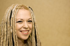 Smiling Woman with Face Piercings Royalty Free Stock Images